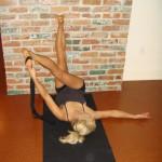 stretch leg with yoga strap
